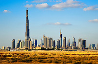 Dubai.  Skyline of the Downtown Dubai Development with the Burj Dubai and Financial Centre.  .