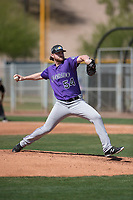 Colorado Rockies relief pitcher Bryan Baker (54) during a Minor League Spring Training game against the Chicago Cubs at Sloan Park on March 27, 2018 in Mesa, Arizona. (Zachary Lucy/Four Seam Images)