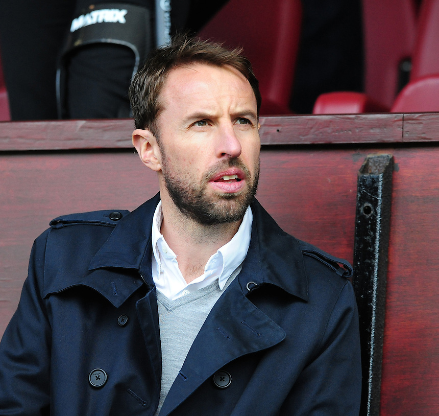 England under 21 manager Gareth Southgate at Turf Moor to watch Burnley's game against Stoke City<br /> <br /> Photographer Chris Vaughan/CameraSport<br /> <br /> Football - Barclays Premiership - Burnley v Stoke City - Saturday 16th May 2015 - Turf Moor - Burnley<br /> <br /> &copy; CameraSport - 43 Linden Ave. Countesthorpe. Leicester. England. LE8 5PG - Tel: +44 (0) 116 277 4147 - admin@camerasport.com - www.camerasport.com