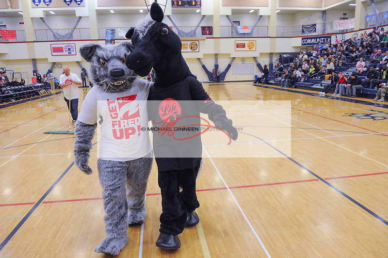 For the cause of combatting heart disease, two rival mascots such as Eagle River's Bruiser (Grace Harder) left, and Chugiak's Morise ( Emma Kohler)  walk arm in arm at Eagle River High School Tuesday January 19, 2016.  Photo for the Star by Michael Dinneen.