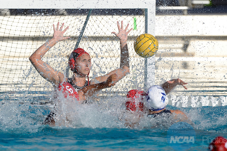 11 MAY 2014:  Gabby Stone (1A) of Stanford University blocks the ball during the Division I Women's Water Polo Championship held at McDonalds Swim Stadium on the USC campus in Los Angeles, CA .Stanford defeated UCLA 9-5 to win the national title. Matt Brown/NCAA Photos