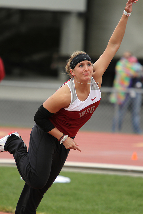 Marissa Tschida, Washington State junior, uncorks the winning throw in the javelin competition during the Cougars dual track and field meet with arch-rival Washington at Mooberry Track at Washington State University in Pullman, Washington, on May 1, 2010.