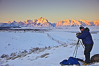 View Camera photographer Alan Karch capturing a Grand Teton winter sunrise in Grand Teton National Park