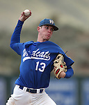 Wildcats' Thomas Kerr pitches against Utah State University Eastern at Western Nevada College in Carson City, Nev., on Saturday, April 25, 2015. <br /> Photo by Cathleen Allison