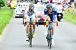 The breakaway Elie Gesbert (FRA) Fortuneo-Oscaro and Yoann Offredo (FRA) Wanty-Groupe Gobert in action during Stage 10 of the 104th edition of the Tour de France 2017, running 178km from Perigueux to Bergerac, France. 11th July 2017.<br /> Picture: ASO/Alex Broadway | Cyclefile<br /> <br /> <br /> All photos usage must carry mandatory copyright credit (&copy; Cyclefile | ASO/Alex Broadway)