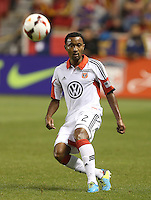 James Riley #2 of D.C. United moves the ball down filed during a game against Real Salt Lake during the first half of the U.S. Open Cup Final on October  1, 2013 at Rio Tinto Stadium in Sandy, Utah.