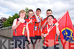The conquering heroes back from The Munster Special Olympics Finals in cork, last weekend, at a welcoming reception at Cuman Iosaef on Monday  l-r  Liam Purcell, Bronze (Softball), Eoin O'Sullivan, Silver, (Softball), Christopher Courtney, Silver (Short Putt),  Maurice Moriarty, Gold (Short Putt), Silver (100 Meters), Hugh O'Brien, Bronze (50 Meter Run),