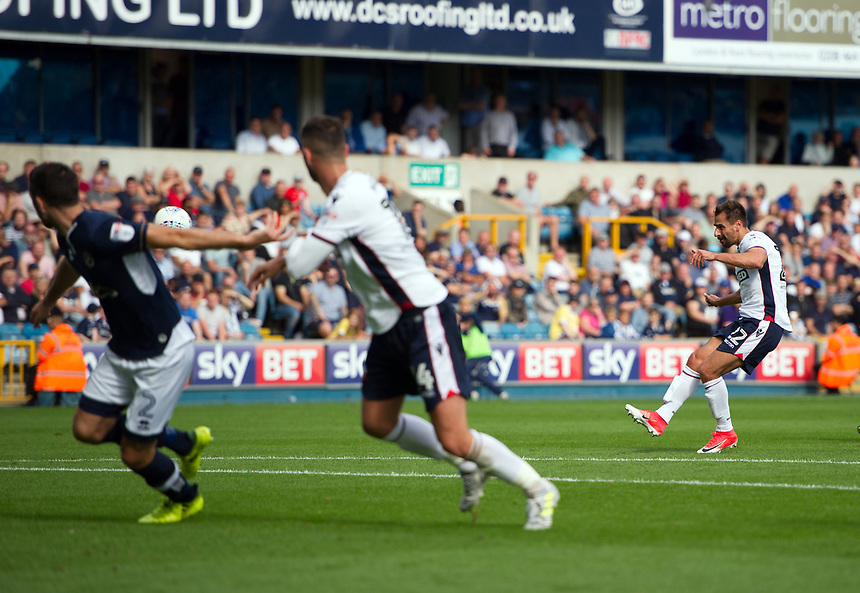 Bolton Wanderers' Filipe Morais scores his sides equalising goal to make the score 1-1<br /> <br /> Photographer Ashley Western/CameraSport<br /> <br /> The EFL Sky Bet Championship - Millwall v Bolton Wanderers - Saturday August 12th 2017 - The Den - London<br /> <br /> World Copyright &not;&copy; 2017 CameraSport. All rights reserved. 43 Linden Ave. Countesthorpe. Leicester. England. LE8 5PG - Tel: +44 (0) 116 277 4147 - admin@camerasport.com - www.camerasport.com