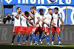 05.10.2019,  GER; 2. FBL, Hamburger SV vs SpVgg Greuther Fuerth ,DFL REGULATIONS PROHIBIT ANY USE OF PHOTOGRAPHS AS IMAGE SEQUENCES AND/OR QUASI-VIDEO, im Bild Jeremy Dudziak (Hamburg #08) schiesst das 1-0 fuer Hamburg vorbei an Torhueter Sascha Burchert (Fuerth #30) und jubelt mit der Mannschaft  Foto © nordphoto / Witke *** Local Caption ***