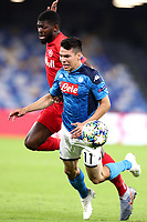 Jerome Onguene of FC Salzburg , Hirving Lozano of SSC Napoli <br /> Napoli 05-11-2019 Stadio San Paolo <br /> Football Champions League 2019/2020 Group E<br /> SSC Napoli - FC Salzburg<br /> Photo Cesare Purini / Insidefoto
