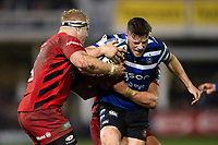 Rhys Priestland of Bath Rugby takes on the Saracens defence. Gallagher Premiership match, between Bath Rugby and Saracens on March 8, 2019 at the Recreation Ground in Bath, England. Photo by: Patrick Khachfe / Onside Images