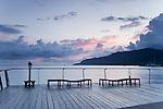 The Esplanade boardwalk at twilight.  Cairns, Queensland, Australia