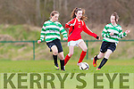 Lucy Donnelly and  Chloe O'Connor  Killarney Celtic battle foe posession against Kilcolman in the u14 FAI cup on Saturday in Celtic Park