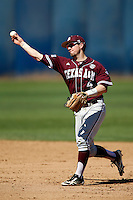 Charlie Curl #4 of the Texas A&M Aggies during a baseball game against the Cal State Fullerton Titans at Goodwin Field on March 10, 2013 in Fullerton, California. (Larry Goren/Four Seam Images)