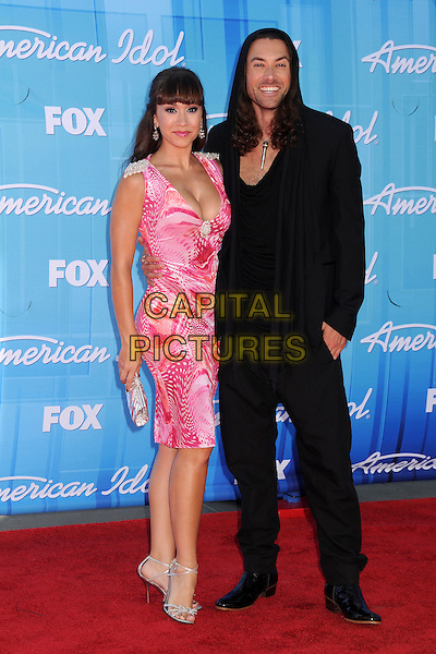 Diana DeGarmo, Ace Young.American Idol Season 11 Finale - Arrivals held at Nokia Theatre LA Live, Los Angeles, California, USA..May 23rd, 2012.full length pink dress white print black suit.CAP/ADM/BP.©Byron Purvis/AdMedia/Capital Pictures.