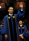 South Bend, IN - May 17, 2009 -- United States President Barack Obama waves to the crowd before addressing the Notre Dame University graduating class of 2009 during the 164th commencement ceremonies on the campus of Notre Dame University in South Bend, Indiana May 17, 2009. Obama received an honorary law degree from the university during the commencement. .Credit: Jeff Haynes / Pool via CNP