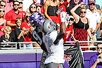TCU Horned Frogs wide receiver Josh Doctson (9) and Texas Tech Red Raiders defensive back Nigel Bethel II (1) in action during the game between the Texas Tech Red Raiders and the TCU Horned Frogs at the Amon G. Carter Stadium in Fort Worth, Texas. TCU defeats Texas Tech 82 to 27.