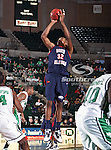 South Alabama Jaguars forward Javier Carter (32) goes up for a jump shot during the NCAA  basketball game between the South Alabama Jaguars and the University of North Texas Mean Green at the North Texas Coliseum,the Super Pit, in Denton, Texas. UNT defeated South Alabama 82 to 79...