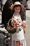 Israel, Jerusalem. An Ultra Orthodox Jewish girl in costume on Purim holiday at the Me?a She?arim quarter, 2005<br />