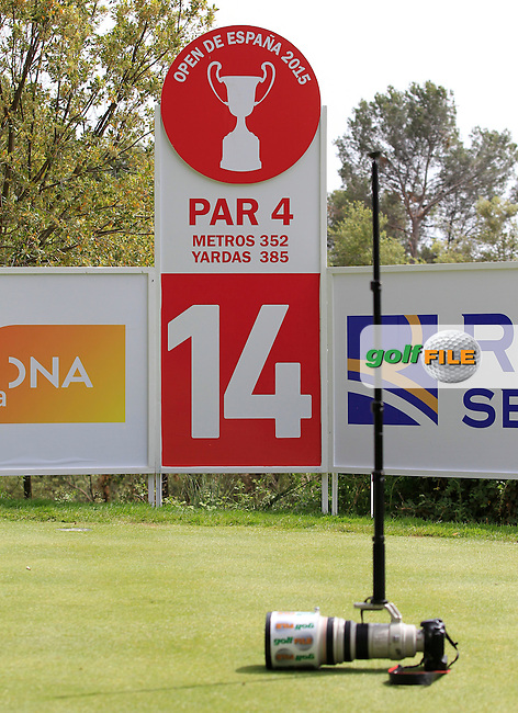 The 14th tee during the Pro-Am of the Open de Espana  in Club de Golf el Prat, Barcelona on Wednesday 13th May 2015.<br /> Picture:  Thos Caffrey / www.golffile.ie