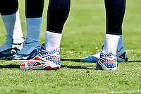 Sept 11, 2011:   A view of Tennessee Titans quarterback Matt Hasselbeck's (8) patriotic shoes during the action between the Jacksonville Jaguars and the Tennessee Titans at EverBank Field in Jacksonville, Florida. Jacksonville defeated Tennessee 16-14.........
