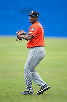 Erasmo Pinales (47) of the Greeneville Astros warms up in the outfield prior to the game against the Kingsport Mets at Hunter Wright Stadium on July 7, 2015 in Kingsport, Tennessee.  The Mets defeated the Astros 6-4. (Brian Westerholt/Four Seam Images)