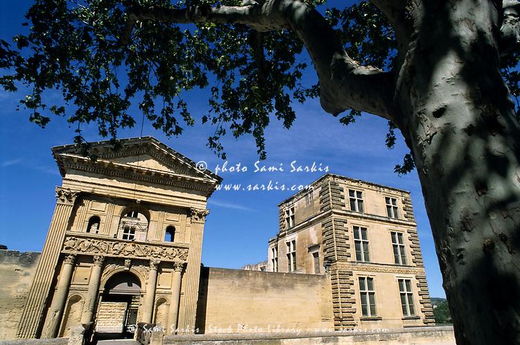Facade of the village castle, Lube_ron, La Tour-d'Aigues, Provence, France.