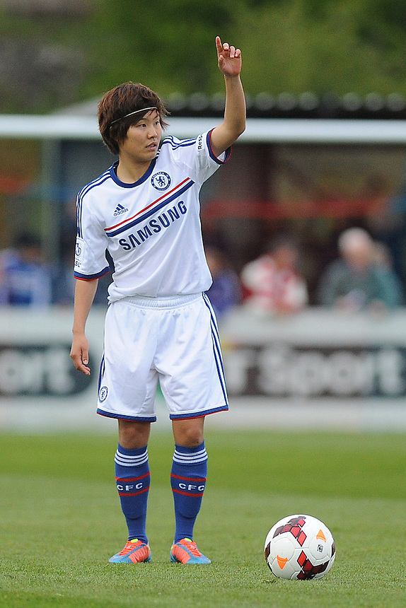 Chelsea Ladies' Ji So Yun in action during todays match  <br /> <br /> Photo by Ashley Crowden/CameraSport<br /> <br /> Football - FA Woman's Super League - Bristol Academy Woman v Chelsea Ladies FC - Thursday 17th April 2014 - Stoke Gifford Stadium - Bristol<br /> <br />  &copy; CameraSport - 43 Linden Ave. Countesthorpe. Leicester. England. LE8 5PG - Tel: +44 (0) 116 277 4147 - admin@camerasport.com - www.camerasport.com