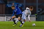 23.10.2018, Heinz-Dettmer-Stadion, Lohne, GER, FSP, SV Werder Bremen vs DSC Arminia Bielefeld<br /> <br /> DFL REGULATIONS PROHIBIT ANY USE OF PHOTOGRAPHS AS IMAGE SEQUENCES AND/OR QUASI-VIDEO.<br /> <br /> im Bild / picture shows<br /> Patrick Weihrauch (Arminia Bielefeld #07) im Duell / im Zweikampf mit Joshua Sargent (Werder Bremen #19), <br /> <br /> Foto &copy; nordphoto / Ewert