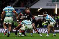 England's Elliot Daly is tackled during todays game <br /> <br /> Photographer Rachel Holborn/CameraSport<br /> <br /> International Rugby Union Friendly - Old Mutual Wealth Series Autumn Internationals 2017 - England v Argentina - Saturday 11th November 2017 - Twickenham Stadium - London<br /> <br /> World Copyright &copy; 2017 CameraSport. All rights reserved. 43 Linden Ave. Countesthorpe. Leicester. England. LE8 5PG - Tel: +44 (0) 116 277 4147 - admin@camerasport.com - www.camerasport.com