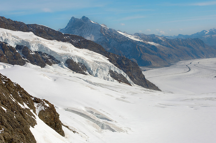 Jungfrau Glaciers in snow  - Bernese Oberland Alps - Switzerland