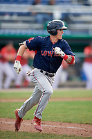 Lowell Spinners second baseman Jarren Duran (44) runs to first base during a game against the Batavia Muckdogs on July 15, 2018 at Dwyer Stadium in Batavia, New York.  Lowell defeated Batavia 6-2.  (Mike Janes/Four Seam Images)