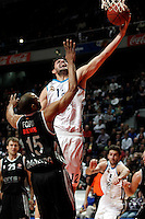 Real Madrid's Nikola Mirotic and Brose's Sharrod Ford during Euroliga match. February 28,2013.(ALTERPHOTOS/Alconada)