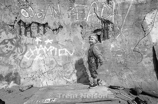 Noah Nelson and graffiti at Ocean Beach.<br />