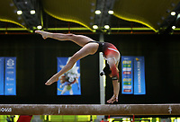 BARRANQUILLA - COLOMBIA, 21-07-2018: H Salas, Costa Rica, durante su participación en gimnasia mujeres modalidad barra de equilibrio como parte de los Juegos Centroamericanos y del Caribe Barranquilla 2018. /  Ana Palacios, Guatemala, during his participation in gymnastics women's beam balance category as a part of the Central American and Caribbean Sports Games Barranquilla 2018. Photo: VizzorImage / Cont
