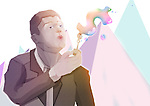 Illustrative image of businessman blowing dollar bubble representing profit