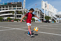 Jacksonville, FL - Thursday, April 05, 2018: Fan prior to a friendly match between USA and Mexico at EverBank Stadium.