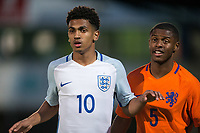 Marcus Edwards (Tottenham Hotspur) of England U20 & Kenneth Paal (PSV Eindhoven) of Netherlands during the International friendly match between England U20 and Netherlands U20 at New Bucks Head, Telford, England on 31 August 2017. Photo by Andy Rowland.