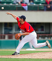 Starting pitcher Kevin Millwood #43 of the Pawtucket Red Sox delivers a pitch to the plate against the Charlotte Knights at McCoy Stadium on June 12, 2011 in Pawtucket, Rhode Island.  The Red Sox defeated the Knights 2-1.    Photo by Brian Westerholt / Four Seam Images