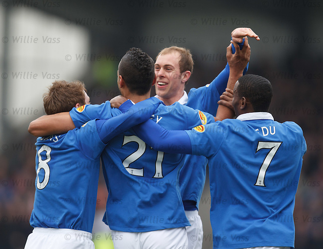 Steven Whittaker celebrates with Kyle Bartley after the only goal of a poor game