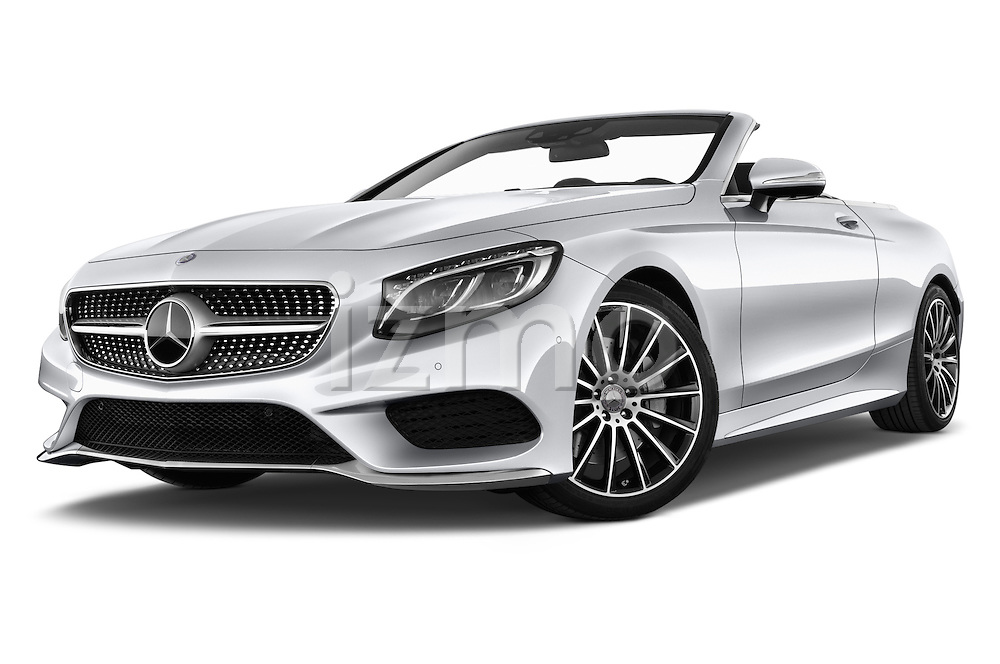 Stock pictures of low aggressive front three quarter view of 2017 Mercedes Benz S-Class AMG-Line 2 Door Convertible Low Aggressive