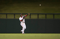 Salt River Rafters center fielder Daniel Johnson (7), of the Washington Nationals organization, throws to the infield during an Arizona Fall League game against the Scottsdale Scorpions at Salt River Fields at Talking Stick on October 11, 2018 in Scottsdale, Arizona. Salt River defeated Scottsdale 7-6. (Zachary Lucy/Four Seam Images)