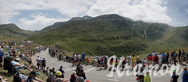 fans lined up on top of the Col de Glandon (HC/1924m/21.7km@5.1%) waiting for the riders to pass by (3 hours later...)<br /> <br /> stage 18: Gap - St-Jean-de-Maurienne (187km)<br /> 2015 Tour de France