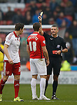 Sam Ricketts of Coventry City receives his second yellow followed by a red card from referee Iain Williamson - English League One - Sheffield Utd vs Coventry City - Bramall Lane Stadium - Sheffield - England - 13th December 2015 - Pic Simon Bellis/Sportimage-
