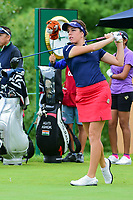 Georgia Hall (ENG) watches her tee shot on 1 during Friday's second round of the 72nd U.S. Women's Open Championship, at Trump National Golf Club, Bedminster, New Jersey. 7/14/2017.<br /> Picture: Golffile | Ken Murray<br /> <br /> <br /> All photo usage must carry mandatory copyright credit (&copy; Golffile | Ken Murray)