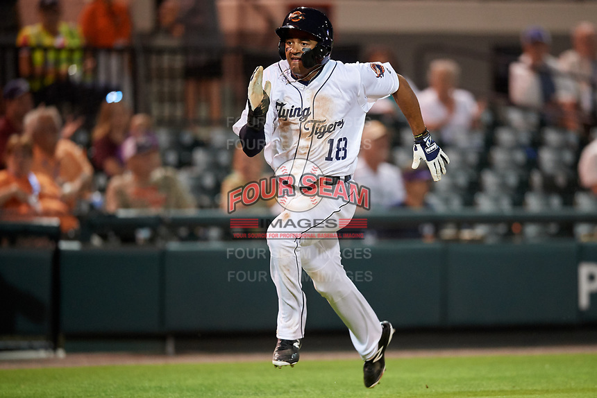 Lakeland Flying Tigers right fielder Derek Hill (18) runs home during a game against the Tampa Tarpons on April 5, 2018 at Publix Field at Joker Marchant Stadium in Lakeland, Florida.  Tampa defeated Lakeland 4-2.  (Mike Janes/Four Seam Images)