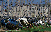 Electricity sub-station at the Sendai port after the earthquake and tsunami that swept through the area, Sendai, Japan. The earthquake,tsunami and nuclear fallout has meant that the March 11th quake was the most expensive natural disaster known to man..13 Mar 2011.