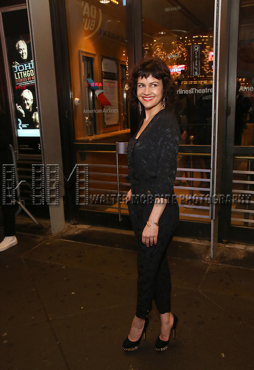 """Carla Gugino attends the Broadway Opening Night Performance of """"John Lithgow: Stories by Heart"""" at the American Airlines Theatre on January 11, 2018 in New York City."""