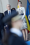 Queen Letizia of Spain (r) and Spain's Interior Minister Jorge Fernandez Diaz attend the delivery ceremony of the Spanish flag to Spanish Police on November 10, 2015 in Avila, Spain.(ALTERPHOTOS/Acero)