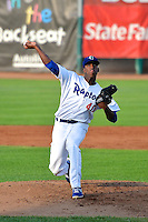 Abdiel Velasquez (40) of the Ogden Raptors in action against the Idaho Falls Chukars in Pioneer League action at Lindquist Field on July 26, 2014 in Ogden, Utah.  (Stephen Smith/Four Seam Images)